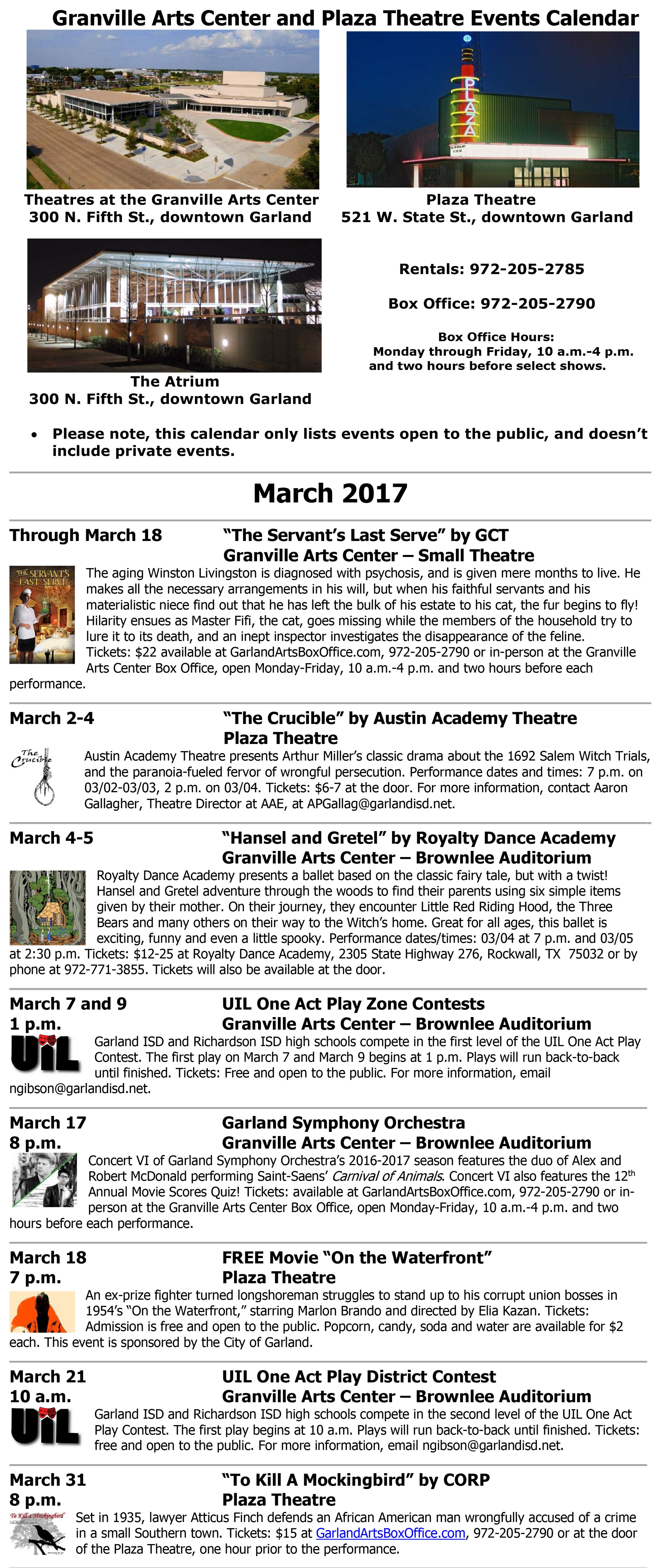 events at the granville arts center and plaza theatre in events at the granville arts center and plaza theatre in downtown garland